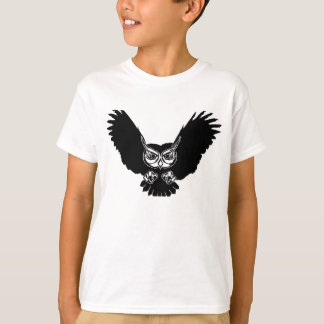 Black owl in flight animation illustration T-Shirt