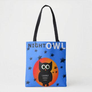Black Owl on Moon Tote Bag