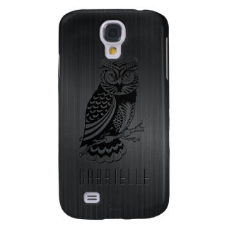 Black Owl Over Metallic Brushed Aluminum-Monogram