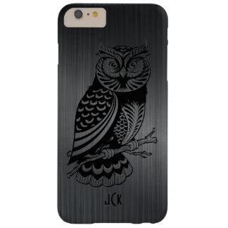 Black Owl Over Metallic Brushed Aluminum-Monogram Barely There iPhone 6 Plus Case