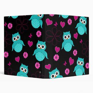 Black Owl pattern pink hearts flowers 3 Ring Binder