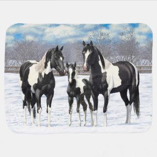 Black Paint Horses In Snow Baby Blanket