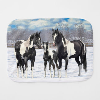 Black Paint Horses In Snow Burp Cloth