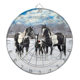 Black Paint Horses In Snow Dartboard