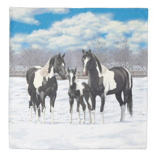 Black Paint Horses In Snow Duvet Cover