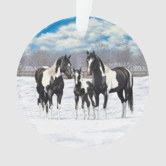 Black Paint Horses In Snow Ornament