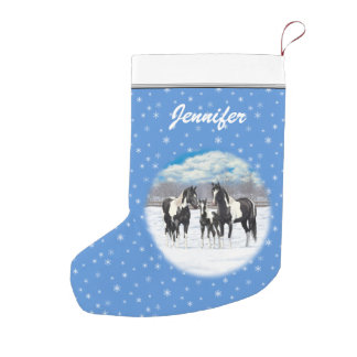 Black Paint Horses In Snow Small Christmas Stocking
