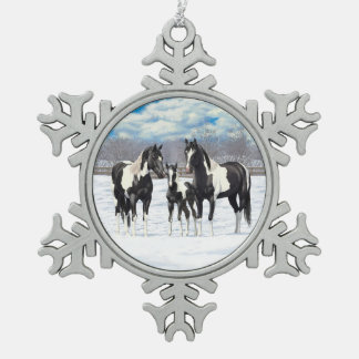 Black Paint Horses In Snow Snowflake Pewter Christmas Ornament