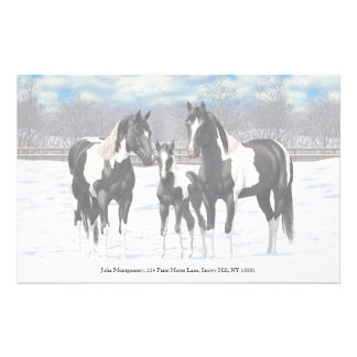 Black Paint Horses In Snow Stationery