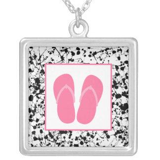 Black Paint Splatter / Pink Flip Flops Necklace