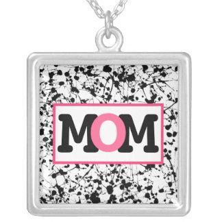 Black Paint Splatter & Pink Mom Necklace