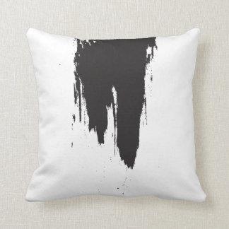 Black Paint Stroke Minimal Throw Pillow