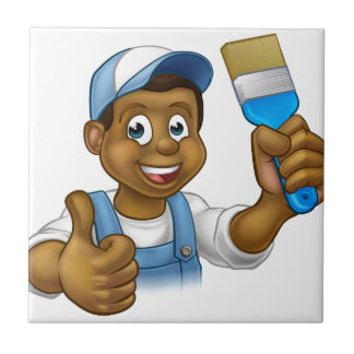 Black Painter Decorator Cartoon Character Ceramic Tiles