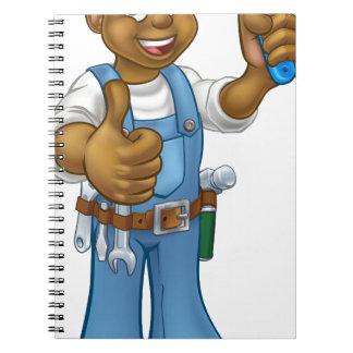 Black Painter Decorator Cartoon Character Notebook