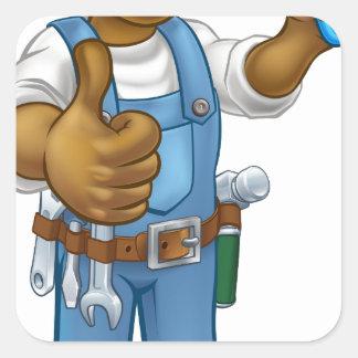 Black Painter Decorator Cartoon Character Square Sticker