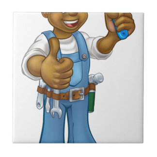 Black Painter Decorator Cartoon Character Tile