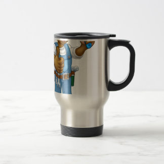 Black Painter Decorator Cartoon Character Travel Mug