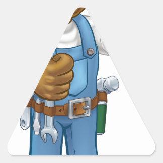 Black Painter Decorator Cartoon Character Triangle Sticker