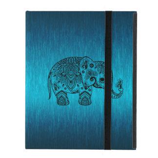 Black Paisley Elephant & Metallic Blue Background iPad Case