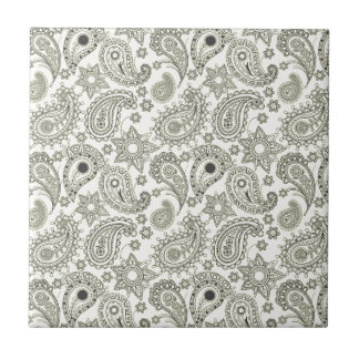 Black Paisley on White Tile