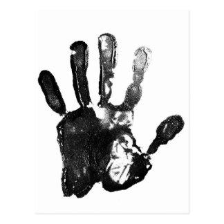 Black palm print design postcard