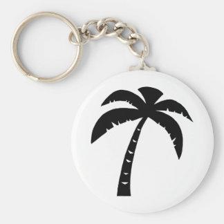 Black Palm Tree Basic Round Button Keychain