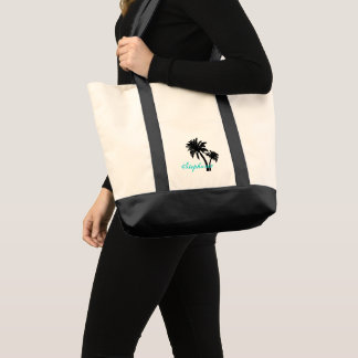 Black Palm Trees Personalized Bag