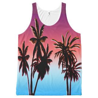 Black Palm Trees Purple Tahitian Haze Sunset Beach All-Over-Print Tank Top