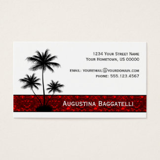 Black Palm Trees Silhouette With Red Business Card
