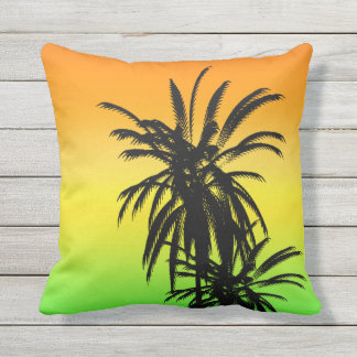 Black Palm Trees Sunset Green Aqua Turquoise Fade Outdoor Pillow