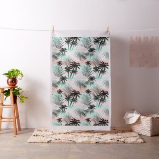 Black palms at sunset fabric