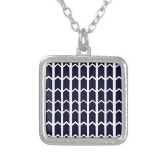Black Panel Fence Silver Plated Necklace