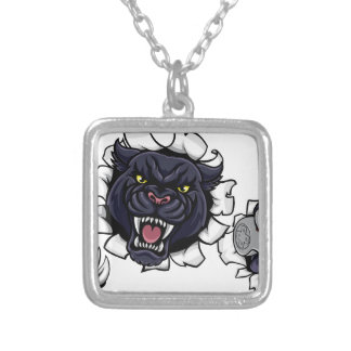 Black Panther Angry Esports Mascot Silver Plated Necklace