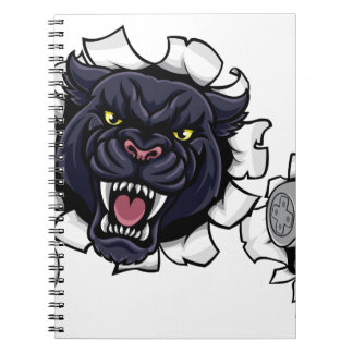 Black Panther Angry Esports Mascot Spiral Notebook