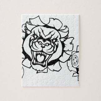 Black Panther Angry Gamer Esports Mascot Jigsaw Puzzle