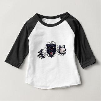 Black Panther Baseball Mascot Breaking Background Baby T-Shirt