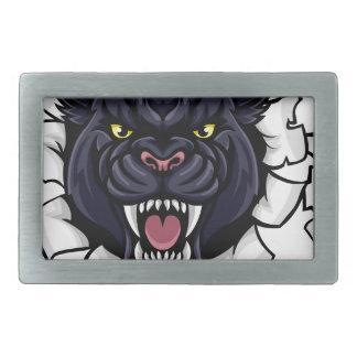 Black Panther Baseball Mascot Breaking Background Belt Buckle
