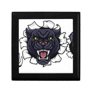 Black Panther Baseball Mascot Breaking Background Gift Box