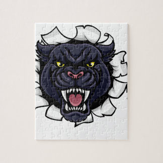 Black Panther Baseball Mascot Breaking Background Jigsaw Puzzle