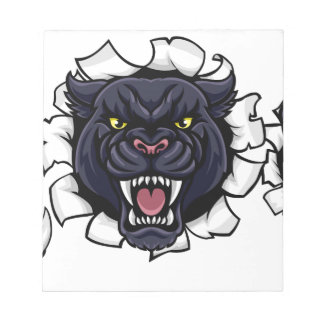 Black Panther Baseball Mascot Breaking Background Notepad