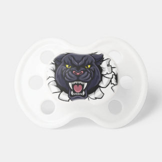 Black Panther Baseball Mascot Breaking Background Pacifier