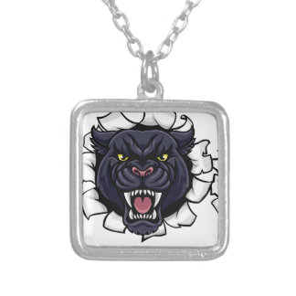 Black Panther Baseball Mascot Breaking Background Silver Plated Necklace