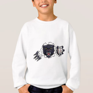 Black Panther Baseball Mascot Breaking Background Sweatshirt