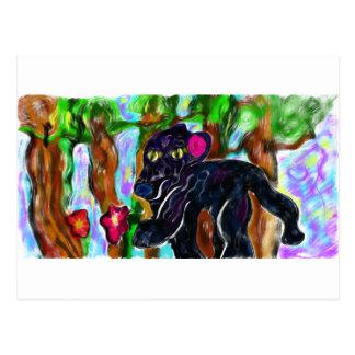 black panther beautiful jungle postcard