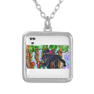 black panther beautiful jungle silver plated necklace