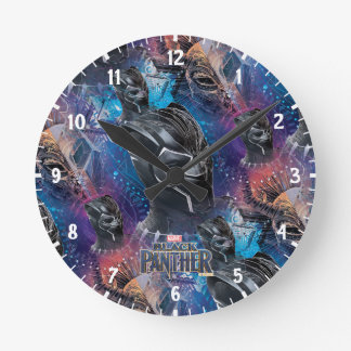 Black Panther | Black Panther & Mask Pattern Round Clock