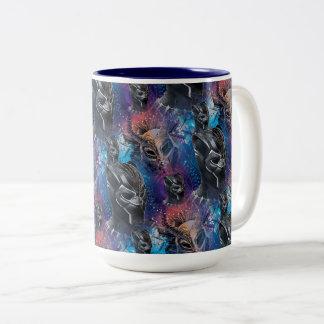 Black Panther | Black Panther & Mask Pattern Two-Tone Coffee Mug