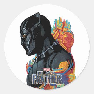 Black Panther | Black Panther Tribal Graffiti Classic Round Sticker