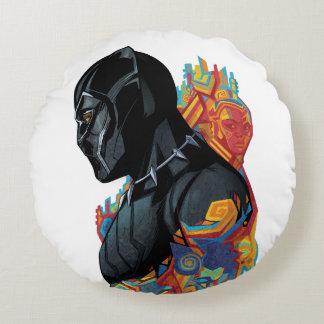 Black Panther   Black Panther Tribal Graffiti Round Pillow