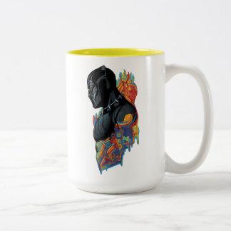 Black Panther | Black Panther Tribal Graffiti Two-Tone Coffee Mug